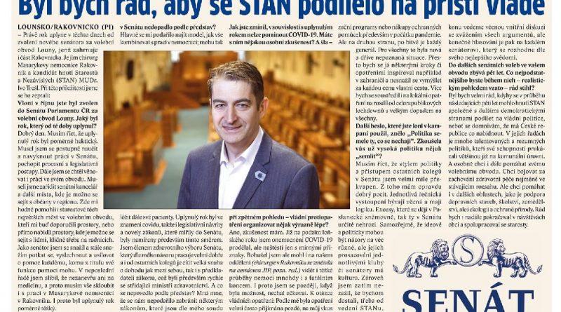 Rok od mého zvolení do Senátu ČR